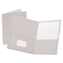 Twin-Pocket Folder, Embossed Leather Grain Paper, Gray, 25/Box