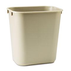 Rubbermaid® Commercial Deskside Plastic Wastebasket, Rectangular, 3.5 gal, Beige