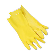 Boardwalk® Flock-Lined Latex Cleaning Gloves, Large, Yellow, 12 Pairs