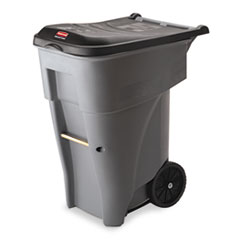 Rubbermaid® Commercial Brute Rollout Heavy-Duty Waste Container, Square, Polyethylene, 65 gal, Gray