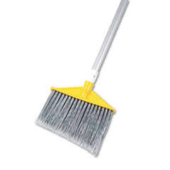"Rubbermaid® Commercial Angled Large Brooms, Poly Bristles, 48 7/8"" Aluminum Handle, Silver/Gray"