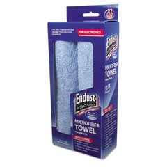 Endust® for Electronics Large-Sized Microfiber Towels Two-Pack, 15 x 15, Unscented, Blue, 2/Pack