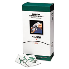 "Allegro® Eyewear Cleaning Wipes, 5 in x 8"", White, 100/Box"