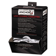 "Anchor Brand® Lens Cleaning Towelettes, 5 in x 8"", White, 100/Box"