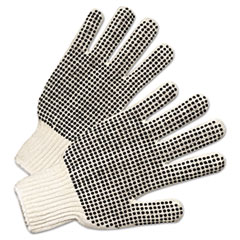 Anchor Brand® PVC-Dotted String Knit Gloves, Natural White/Black, Large, 12 Pairs
