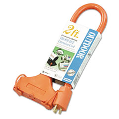 CCI® Tri-Source Vinyl Multiple Outlet Cord, 3-Way, 2ft, AWG 12/3, SJTW-A, Orange