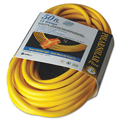 CCI® Polar/Solar Outdoor Extension Cord, 50ft, Three-Outlets, Yellow COC03488