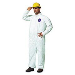 DuPont® Tyvek Coveralls, Open Wrist/Ankle, HD Polyethylene, White, Large, 25/Carton