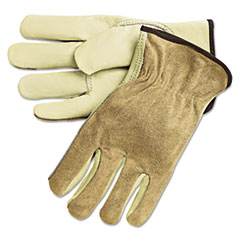 MCR™ Safety Dual Leather Industrial Gloves, Cream, Large, 12 Pairs