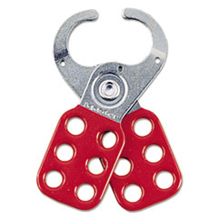 "Master Lock® Steel Lockout Hasp, Steel/Vinyl, 2 3/8"", Red"