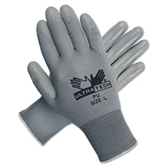 MCR™ Safety Ultra Tech Tactile Dexterity Work Gloves, White/Gray, Large, 12 Pairs