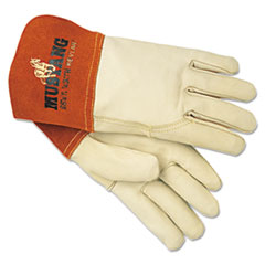 MCR™ Safety Mustang MIG/TIG Leather Welding Gloves, White/Russet, Large, 12 Pairs