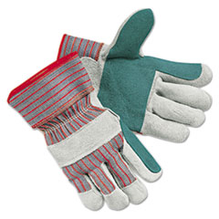 MCR™ Safety Men's Economy Leather Palm Gloves, White/Red, Large, 12 Pairs