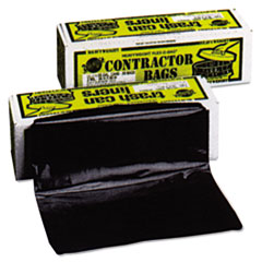 "Warp's® Heavyweight Contractor Bags, 55 gal, 3 mil, 35"" x 56"", Black"