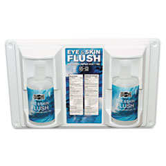 "Pac-Kit® Twin Bottle Eye Flush Station w/Two 16oz Bottles, 3.75""D x 13.5""H x 16.5""W"