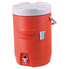 Rubbermaid® Commercial Insulated Beverage Container, 3 gal, 11 dia x 16.7 h, Orange/White