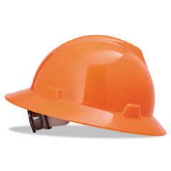 V-Gard Full-Brim Hard Hats, Ratchet Suspension, Size 6 1/2 - 8, High-Viz Orange