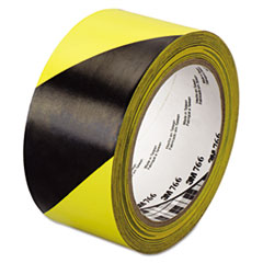 "3M™ 766 Hazard Warning Tape, Black/Yellow, 2"" x 36yds"