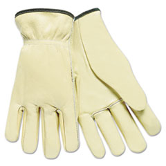 MCR™ Safety Full Leather Cow Grain Driver Gloves, Tan, Large, 12 Pairs