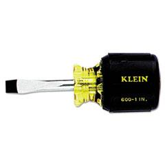 Klein Tools® Heavy-Duty Slotted Keystone-Tip Cushion-Grip Screwdriver, Stubby, Square Shaft