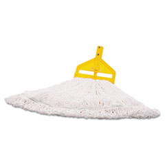 Rubbermaid® Commercial Nylon Finish Mop Head, Medium, White, 6/Carton