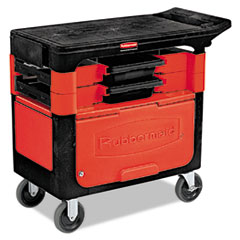 Rubbermaid® Commercial Locking Trades Cart, 330-lb Capacity, Two-Shelf, 19.25w x 38d x 33.38h, Black