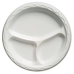 Genpak® Aristocrat Plastic Plates, 10 1/4 Inches, White, Round, 3 Compartments, 125/Pack