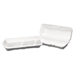 Genpak® Foam Hinged Hoagie Container, X-Large, 13-1/5x4-1/2x3-1/5, White, 100/BG, 2/CT