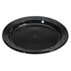 Genpak® Silhouette Black Plastic Plates, 6 Inches, Round, 125/Pack