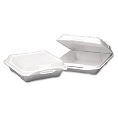 Genpak® Hinged-Lid Foam Carryout Containers, 9.25 x 9.25 x 3, White, 100/Bag, 2 Bags/Carton
