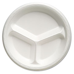 "Foam Dinnerware, Plate, 3-Comp, 10 1/4"" dia, White, 125/Pack, 4 Packs/Carton"