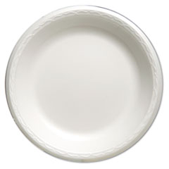 "Genpak® Foam Dinnerware, Plate, 10 1/4"" dia, White, 125/Pack, 4 Packs/Carton"