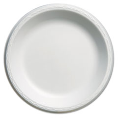 "Genpak® Elite Laminated Foam Plates, 10 1/4"" Dia, White, Round, 125/Pack, 4 Pack/Carton"