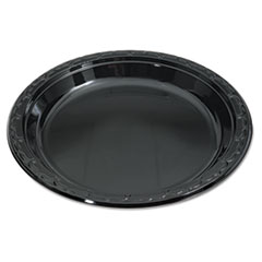 Genpak® Silhouette Black Plastic Plates, 10 1/4 Inches, Round