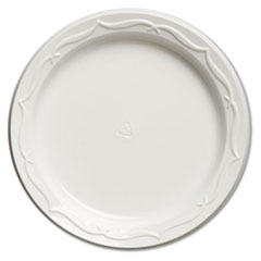 "Genpak® Aristocrat Plastic Plates, 6"", White, Round, 125/PK, 8 PK/CT"