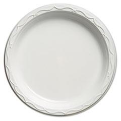 Genpak® Aristocrat Plastic Plates, 10 1/4 Inches, White, Round, 125/Pack