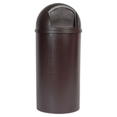 Rubbermaid® Commercial Marshal Classic Container, Round, Polyethylene, 25 gal, Brown