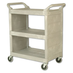 Rubbermaid® Commercial Utility Cart, 300-lb Capacity, Three-Shelf, 32w x 18d x 37.5h, Platinum
