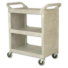 Rubbermaid® Commercial Utility Cart, 300-lb Capacity, Three-Shelf, 32w x 18d x 37.5h, Platinum