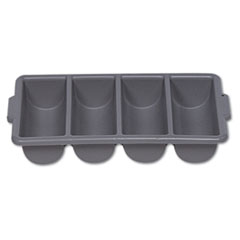 Rubbermaid® Commercial Cutlery Bin, 4 Compartments, Plastic, 11.5 x 21.25 x 3.75, Gray
