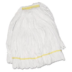 Boardwalk® Mop Head, Looped, Enviro Clean With Tailband, Large, White, 12/Carton