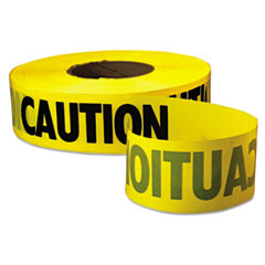 "Empire® Caution Barricade Tape, ""Caution"" Text, 3"" x 1000ft, Yellow/Black"