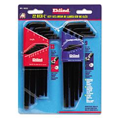 Eklind® 22-Piece L-Wrench Hex Key Set, SAE/Metric, Long-Arm