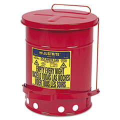 JUSTRITE® Oily Waste Can, 6gal, Red