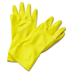 Boardwalk® Flock-Lined Latex Cleaning Gloves, X-Large, Yellow, 12 Pairs