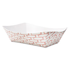 Boardwalk® Paper Food Baskets, 3lb Capacity, Red/White, 500/Carton