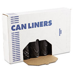 "Boardwalk® Low-Density Waste Can Liners, 56 gal, 0.6 mil, 43"" x 47"", Black, 100/Carton"