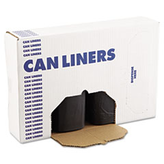 "Boardwalk® Low Density Repro Can Liners, 60 gal, 1.2 mil, 38"" x 58"", Black, 100/Carton"