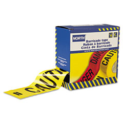 """North Safety® Barricade Tape, 3"""" x 1000 ft, """"Caution"""" Text, Yellow/Black"""