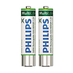 Philips® Rechargeable NiMH Batteries, AAA, 2 per Pack